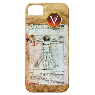 VITRUVIAN MAN Antique Parchment Red Ruby Monogram Barely There iPhone 5 Case
