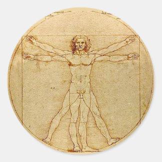 Vitruvian Man, Leonardo da Vinci, circa 1490. Classic Round Sticker