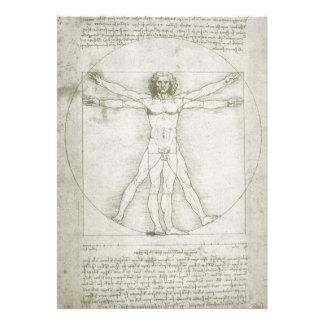 Vitruvian Man Leonardo da Vinci, Renaissance Art Personalized Invitations