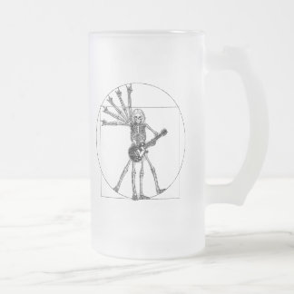 Vitruvian Skeleton Frosted Glass Beer Mug