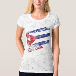 Viva Cuba Flag Distressed T-Shirt