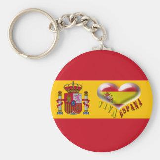 Viva Espana Spain Coat of Arms Heart Keychain