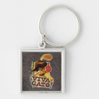 Viva Gato! Silver-Colored Square Key Ring