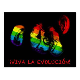 viva la evolucion! rainbow chimps postcard
