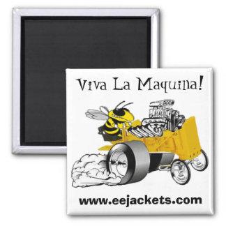 """Viva La Maquina"" E-E Yellow Jacket Dragster Magne Square Magnet"