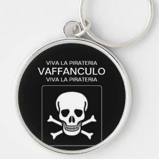 Viva La Pirateria Silver-Colored Round Key Ring