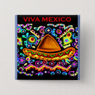 VIVA MEXICO 15 CM SQUARE BADGE