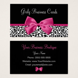Vivacious Dark Pink Bow Leopard Print Boutique Business Card