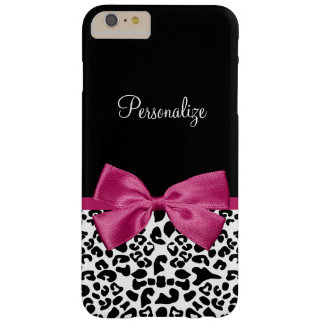 Vivacious Dark Pink Ribbon Leopard Print With Name Barely There iPhone 6 Plus Case