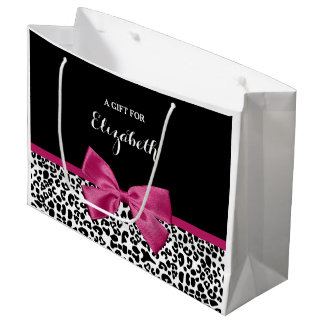 Vivacious Dark Pink Ribbon Leopard Print With Name Large Gift Bag