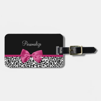 Vivacious Dark Pink Ribbon Leopard Print With Name Luggage Tag
