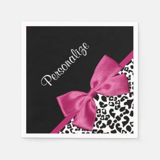 Vivacious Dark Pink Ribbon Leopard Print With Name Paper Serviettes