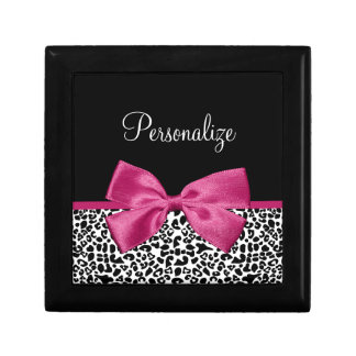 Vivacious Dark Pink Ribbon Leopard Print With Name Small Square Gift Box
