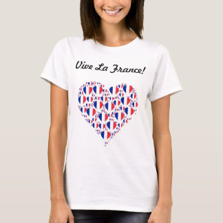 Vive La France I love France Flag Heart T-Shirt