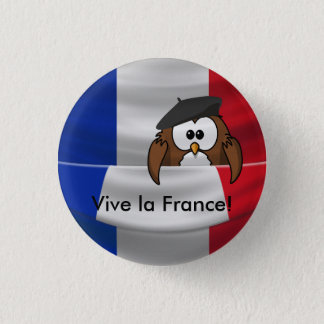 Vive la France owl 3 Cm Round Badge