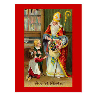 """Vive St. Nicolas"" French Vintage Postcard"