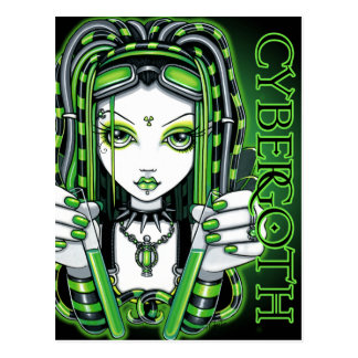 Vivian Cybergoth Toxic Green Fairy Postcard