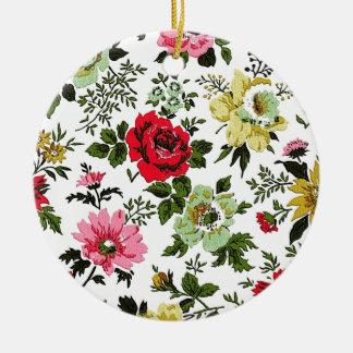 """Vivian"" Wallpaper (Red) Round Ceramic Decoration"