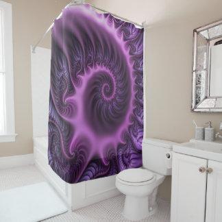 Vivid Abstract Cool Pink Purple Fractal Art Spiral Shower Curtain