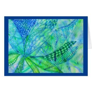 Vivid abstract mixed media floral greeting card