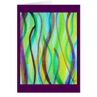 Vivid, abstract, watercolor grasses greeting card