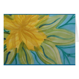 Vivid abstract watercolor yellow flower card