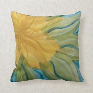 Vivid abstract watercolor yellow flower cushion