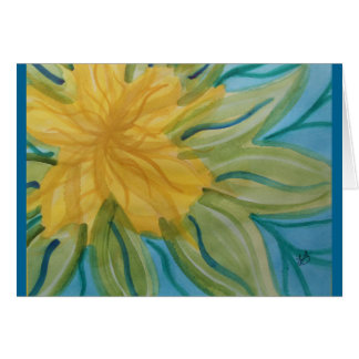 Vivid abstract watercolor yellow flower greeting card