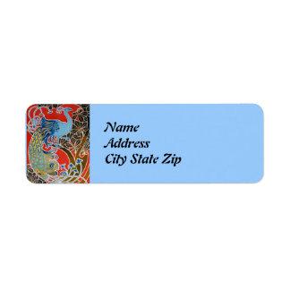 Vivid Art Nouveau Peacock Return Address Label