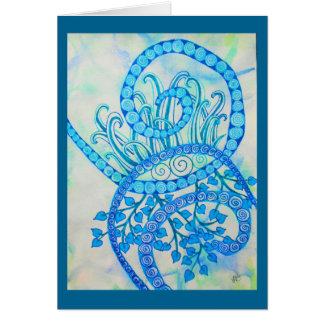Vivid blue abstract spirals and plants greeting card