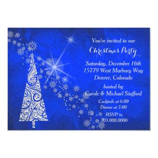 Vivid Blue Christmas Tree Party Invitation