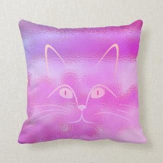 Vivid Bright Pink Rose Glass Cat Throw Pillow