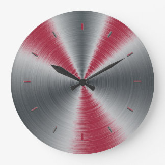 Vivid Burgundy Splashes One Color Large Clock