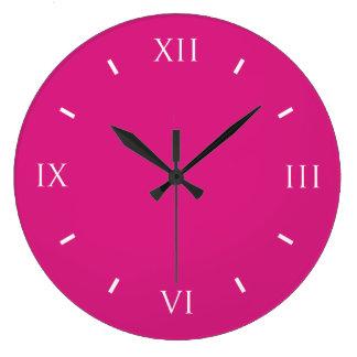 Vivid Cerise Top Color Design Large Clock