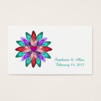 Vivid Colorful Feathers Place Cards