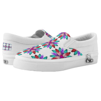 Vivid Colorful Feathers Printed Shoes