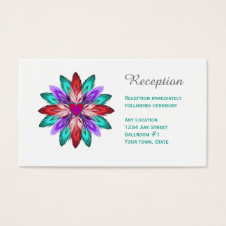 Vivid Colorful Feathers Reception Cards
