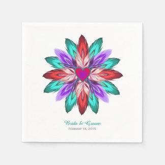 Vivid Colorful Feathers Wedding Disposable Serviette