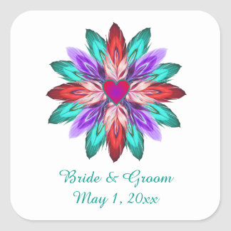Vivid Colorful Feathers Wedding Sticker