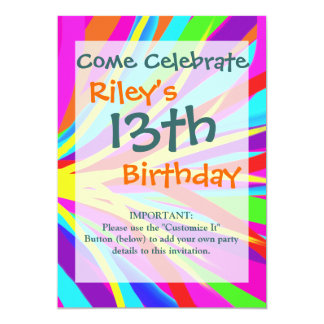 Vivid Colorful Paint Brush Strokes Girly Art 13 Cm X 18 Cm Invitation Card