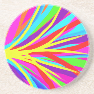 Vivid Colorful Paint Brush Strokes Girly Art Coaster