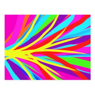 Vivid Colorful Paint Brush Strokes Girly Art Postcard