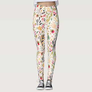 Vivid Colors,Contemporary Foral Design Leggings