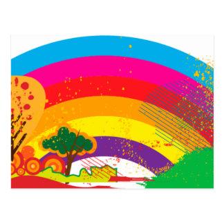 Vivid colourful rainbow landscape postcard