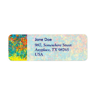 Vivid colours abstract return address label