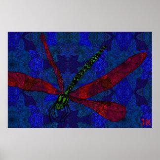 Vivid Dragonfly Poster