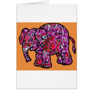 vivid funky graffiti elephant greeting card