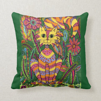Vivid Garden Cat 2 with Green Background Cushion