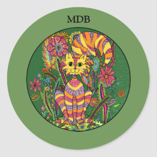 Vivid Garden Cat Green Folk Art Custom Monogram Classic Round Sticker