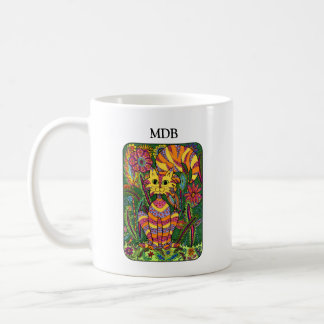 Vivid Garden Cat Green Folk Art Custom Monogram Coffee Mug